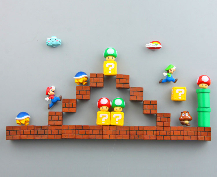 3D Mario Fridge Magnets Let You Build Your Own Mario Level - Geeky Super Mario Brick Magnets