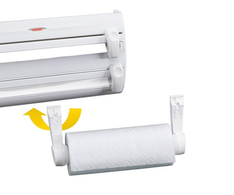 4-in-1 Roll Holder For Plastic Wrap, Tinfoil, and Paper Towels - Leifheit 25771 Kitchen roll holder