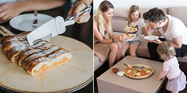 4-in-1 Pizza Cutter Doubles as a Pizza Serving Spatula - Multi-purpose pizza slicer