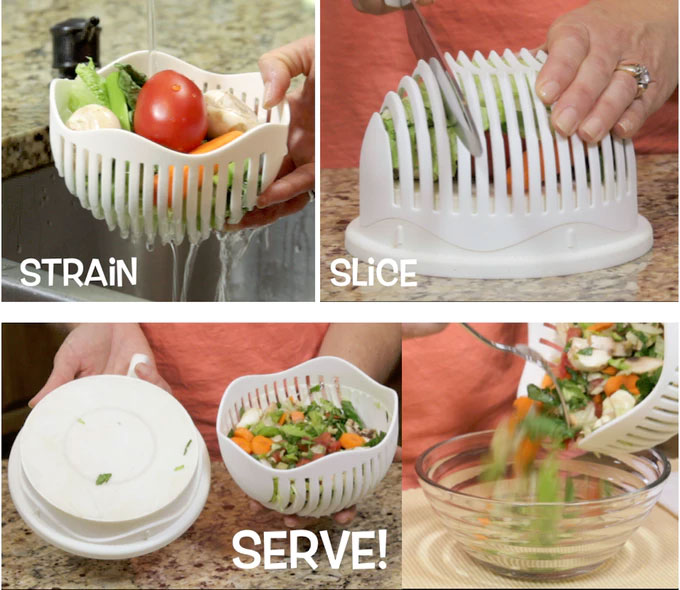 60 second salad maker - 3-in-1 salad maker - rinse, chop, and serve your salad with one device - Salad bowl with cutting slots