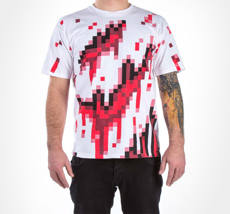 8-bit Pixelated Bloody Zombie T-Shirt
