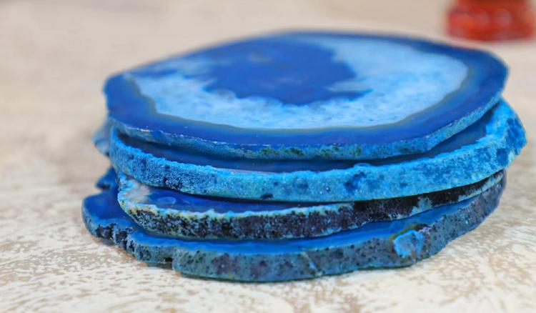Natural Geode Rock Coasters - Coasters Made From Real Agate Geodes - Science geek coasters