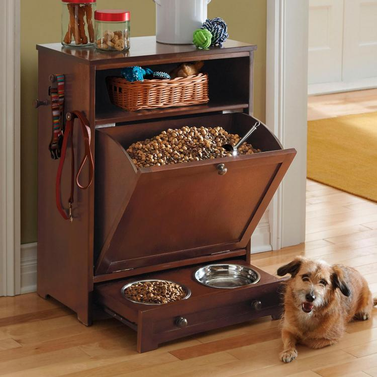 Dog feeder station - All-in-1 Dog Feeding Station with giant food drawer