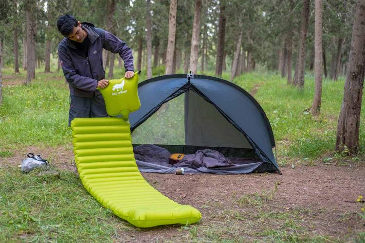 Rhinowolf 2.0 All-in-One Modular Camping Tent Includes a Mattress and a Sleeping Bag