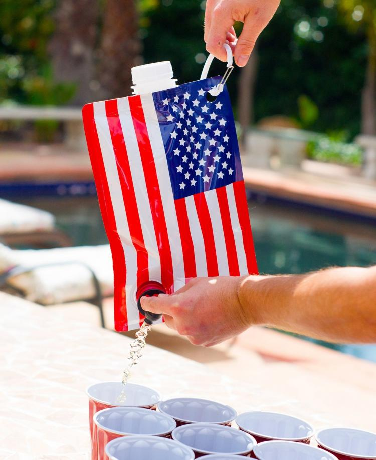 American Flag Liquor Bag - American Flag wine bag flask