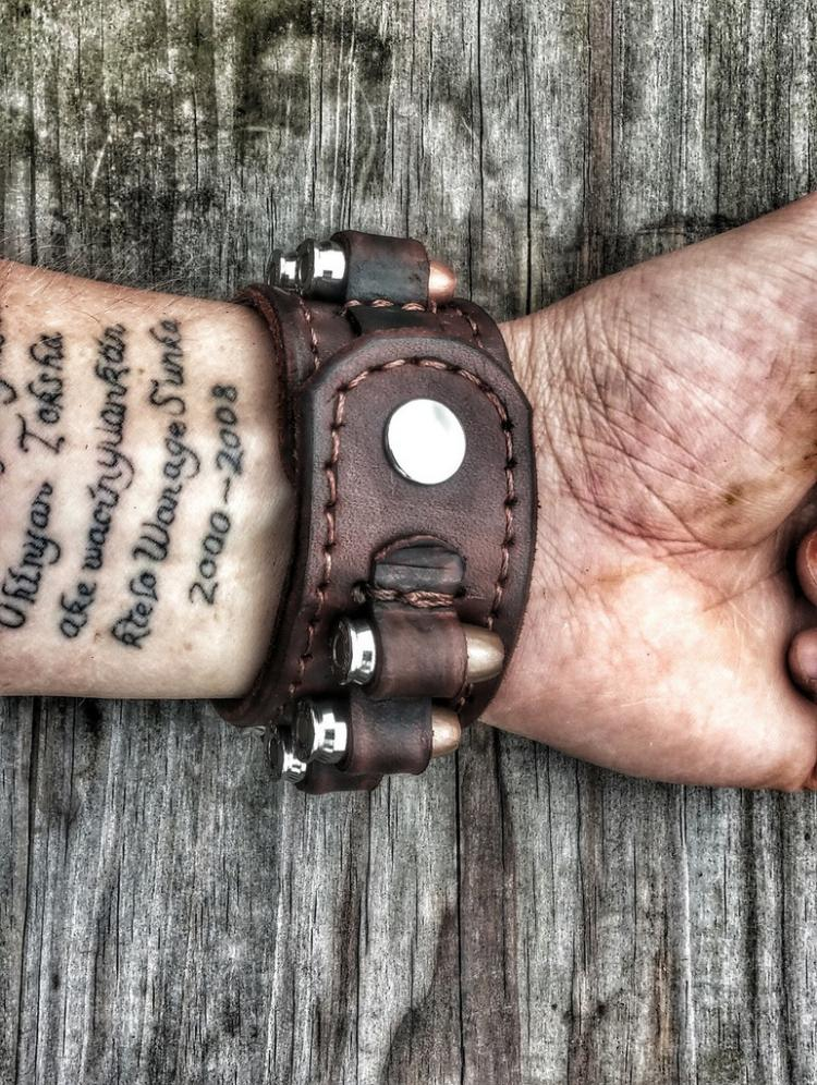 Leather Ammo Bandolier Bracelet Is Filled With Bullets