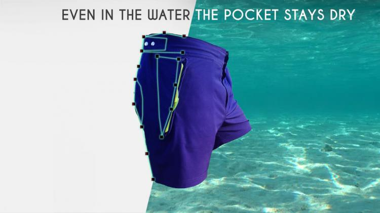 Aquanautia: Swim Shorts Have Pocket With Water-Tight Seal - Waterproof pockets swim trunks
