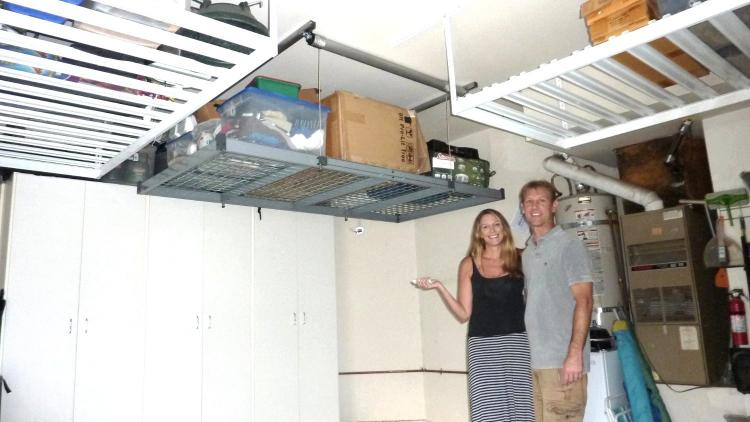Auxx lift a remote controlled storage lift for your garage for Electric motorized storage lift system