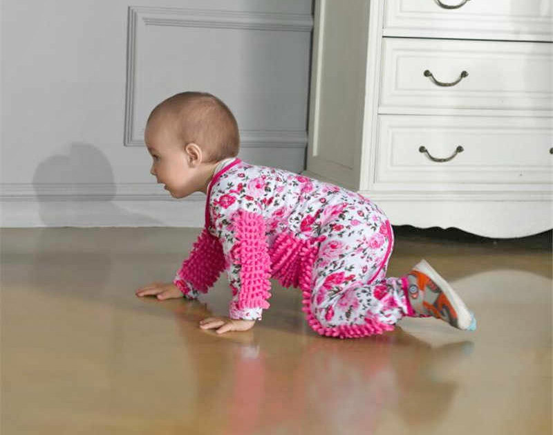 Baby Mop Onesie Lets Your Baby Help Sweep Your Floors While Crawling