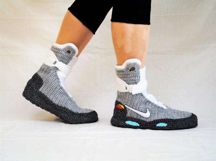 Back To The Future Shoes Knitted Slippers - Nike BTTF Shoes knit slippers