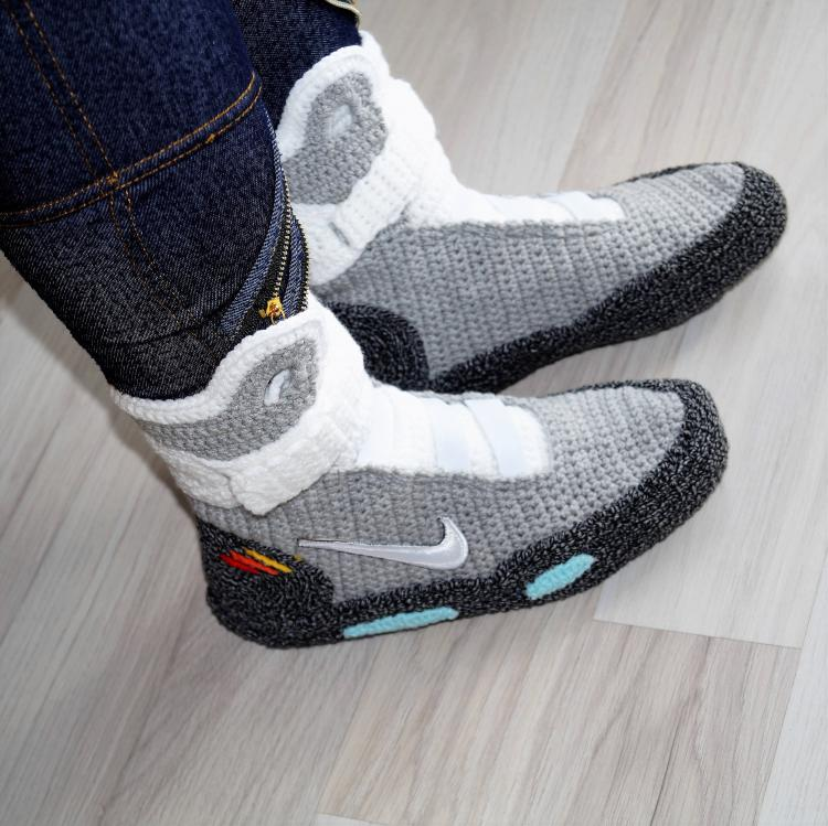 a73526df0b9541 Back To The Future Shoes Knitted Slippers - Nike BTTF Shoes knit slippers