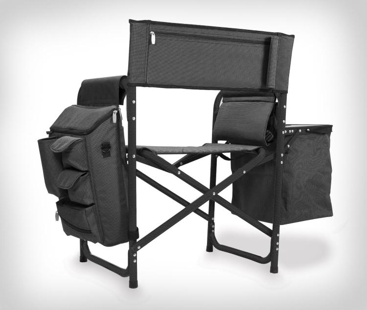 Backpack Chair With Cooler And Side Table - Folding chair backpack with integrated shelves, cooler, and table