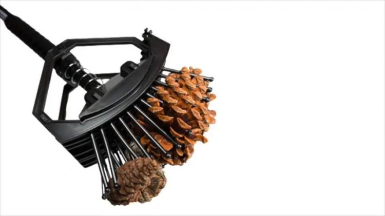 Stab-a-nut nut picker upper tool - Pronged tool helps pick up nuts, acorns, pine-cones, sweet gum balls