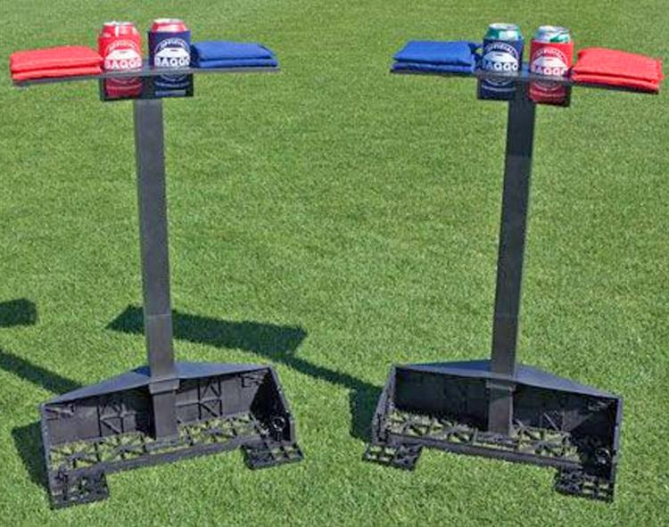 Corn Hole Lighted Caddy Holds Drinks and Bags, Keeps Score