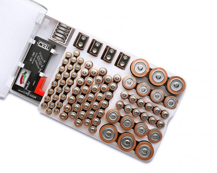 Battery Storage Organizer Holds 93 Various Sized Batteries