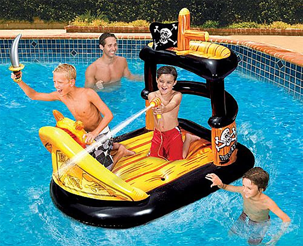 Inflatable pool float with integrated squirt guns - Pool toy with built-in water blaster