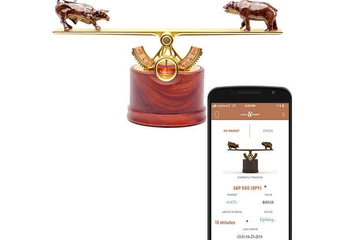 Bear or Bull Market Kinetic Moving Sculpture Shows Market Status In Real-time - Best desk ornament stock market gadget