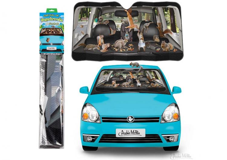 Squirrels In Car Funny Windshield Sunshade - Squirrels car sun shade