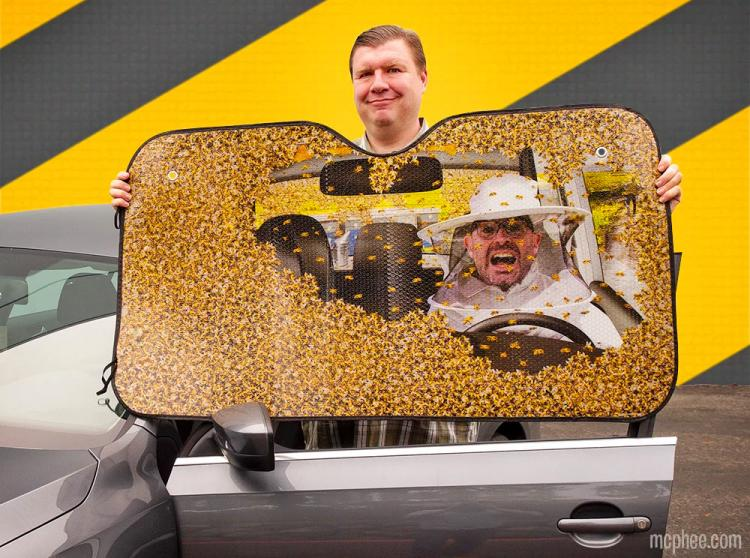 Bees In Car Funny Windshield Sunshade - Bee attack car sun shade