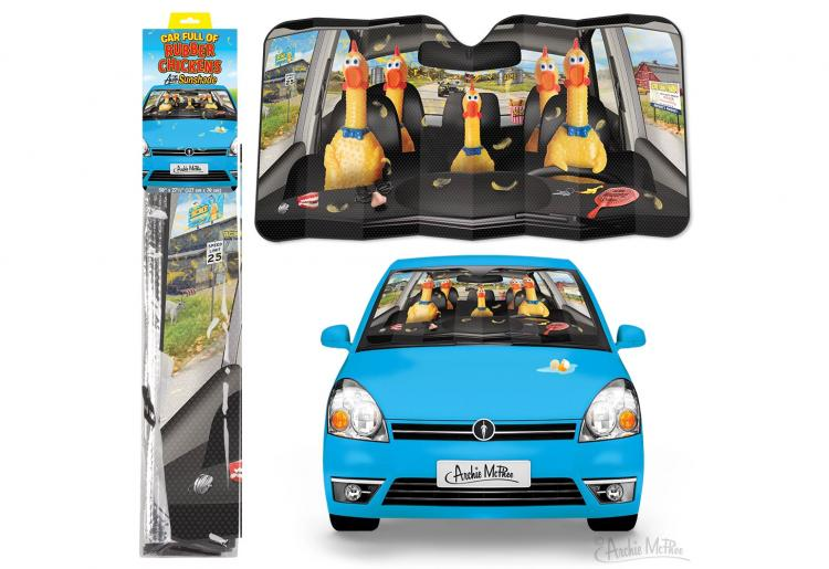 Rubber Chickens In Car Funny Windshield Sunshade - Rubber Chicken car sun shade