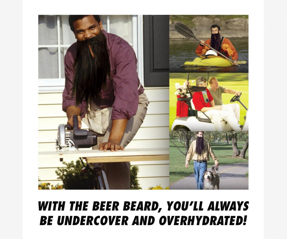 Fake Beard Lets You Hide Beer Inside Of It For Drinking On The Go - Beer Beard Funny Prank Box