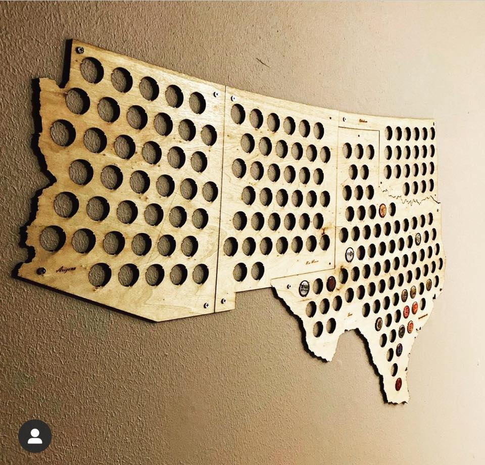 United States Beer Cap Maps - State Shaped wooden beer cap maps for collecting beer caps