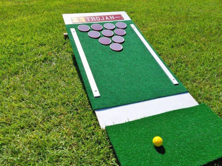 Beer Pong Golf - Chip Golf Balls Onto Cornhole Board