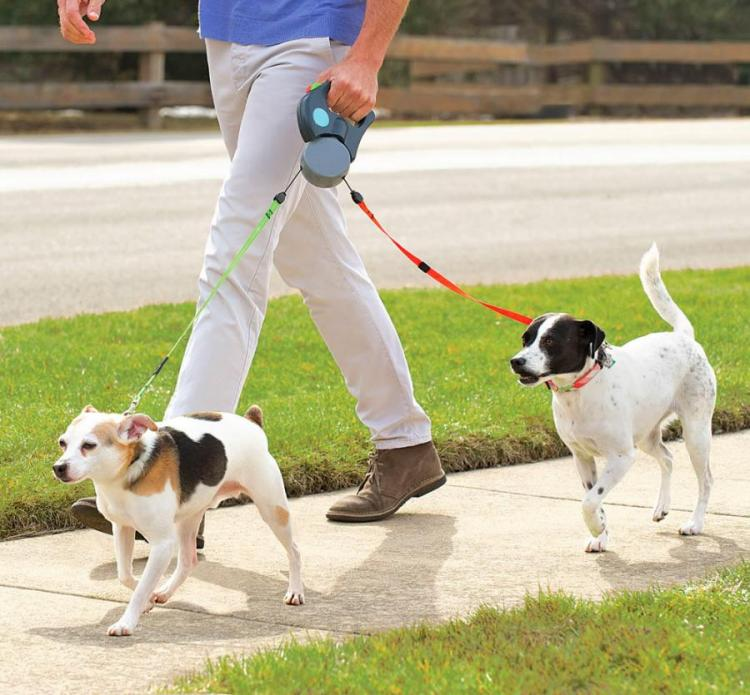 Dual Doggie Pet Leash: Double Retractable Dog Leash For Walking 2 Dogs at a Time