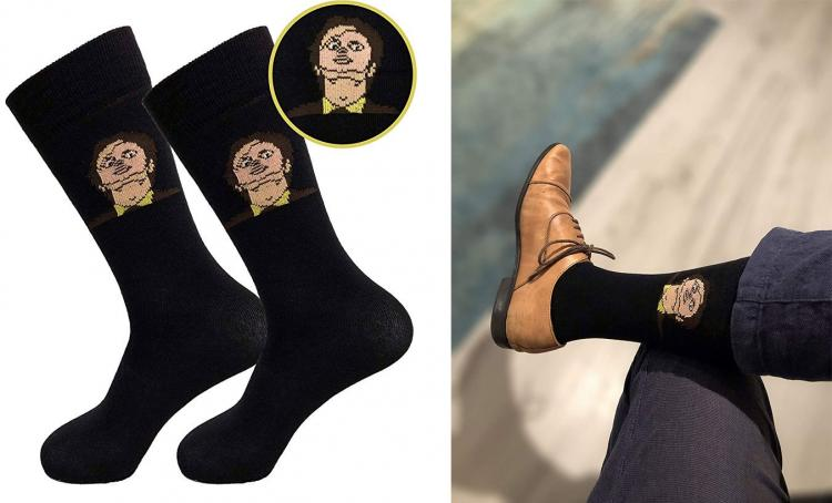 Dwight Schrute Wearing CPR Doll Face Mask Socks