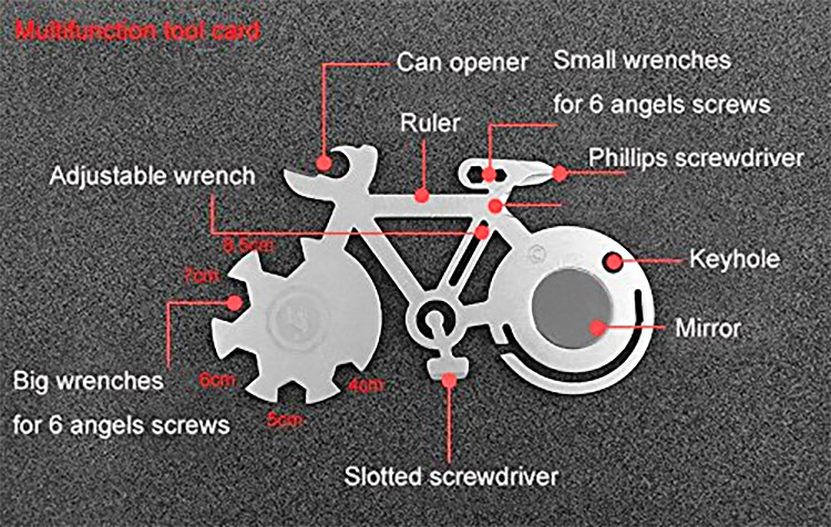 Bicycle Shaped 10-in-1 Multi-Tool - Bike survival multi-tool