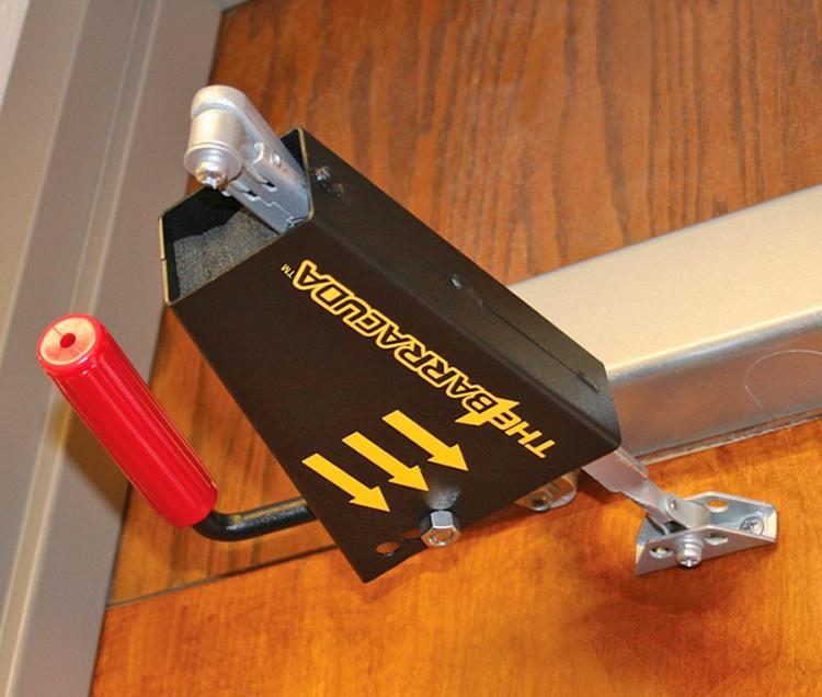 Bilco Intruder Defense System Locks Commercial Doors In Emergencies - School Door Emergency Lock
