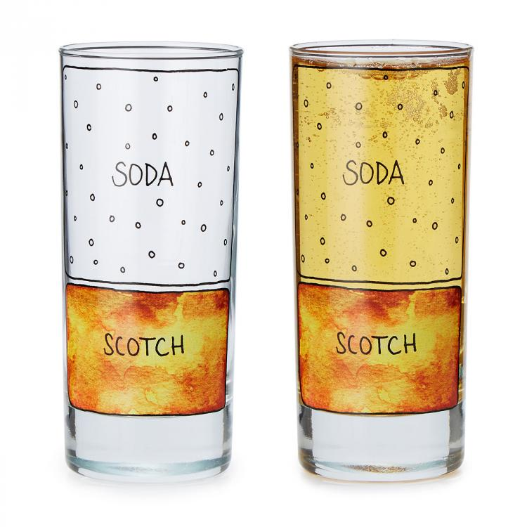 Scotch and Soda Ingredients Diagram Glasses