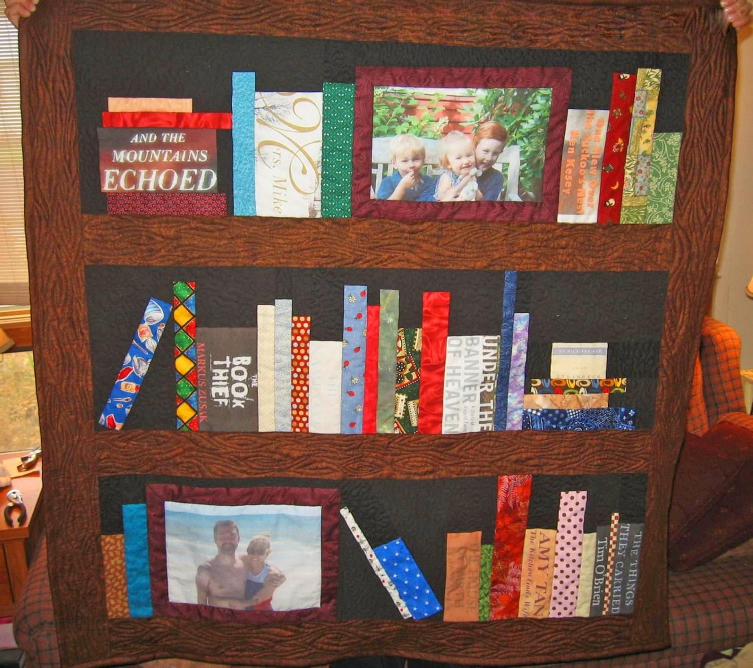 Custom Bookcase Quilt Customized With Your Favorite Books, Hobbies, and Family Photos
