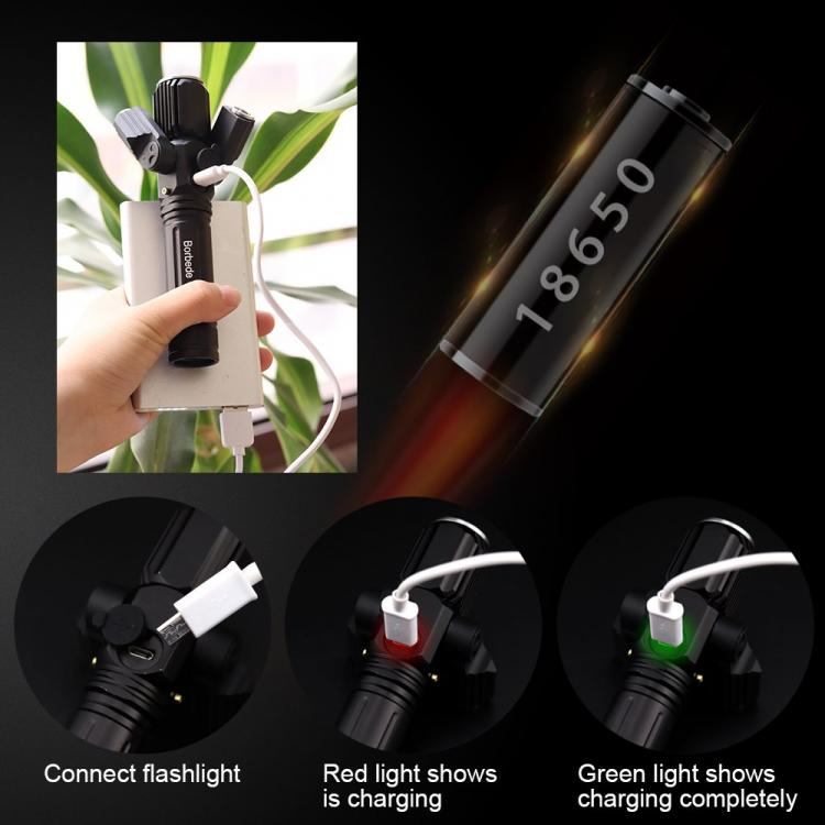 Borbede LED Flashlight with 3 Heads