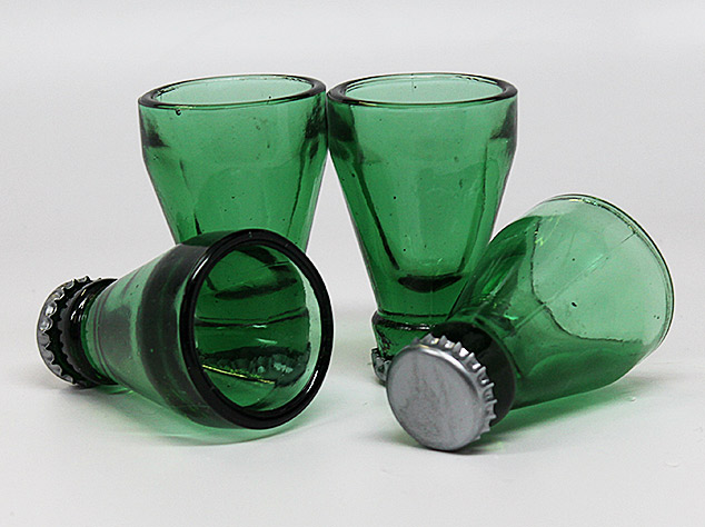 Beer Bottle Top Shot Glasses - Top Shots Shot Glasses - made from tops of recycled beer bottles
