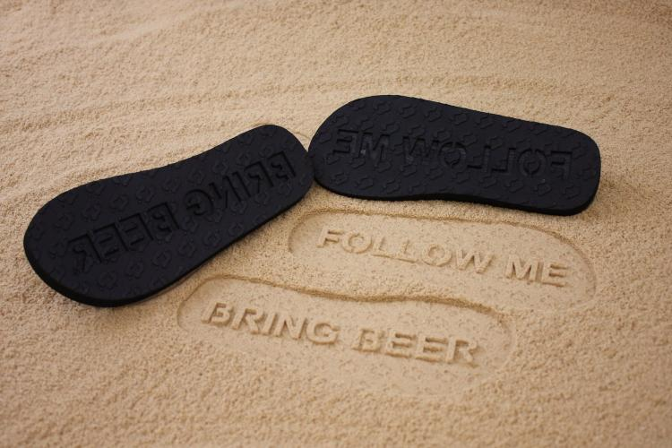 Follow Me Bring Beer Sand Imprint Sandals