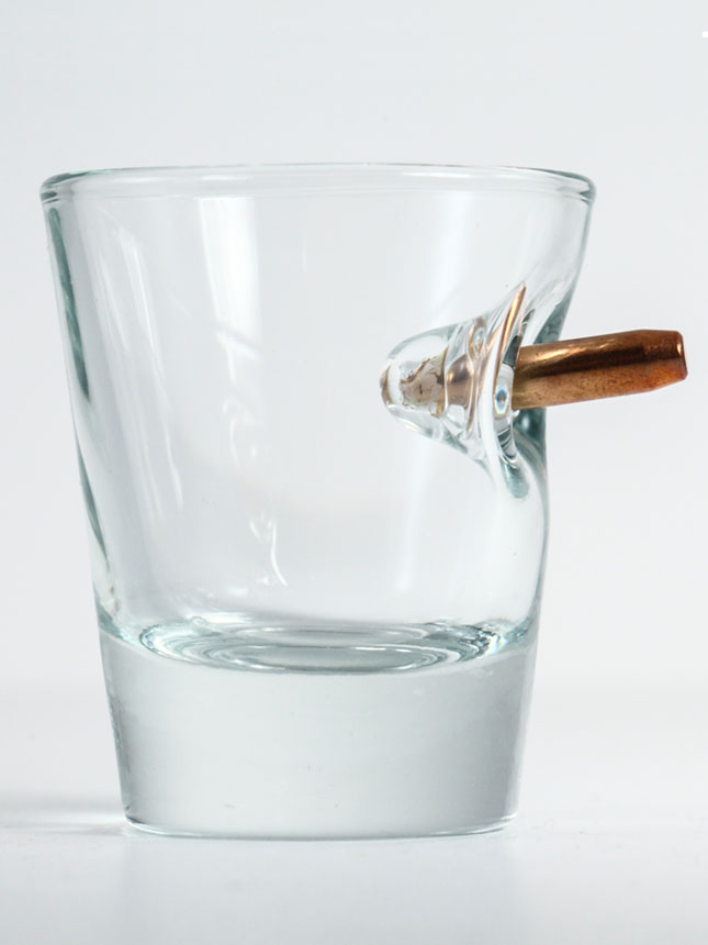Benshot bulletproof shot glass - real bullet inside glass