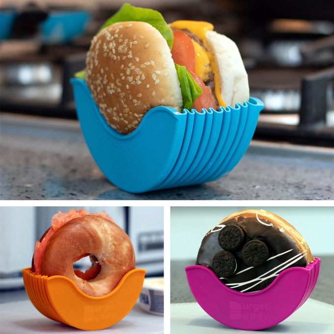Burger Buddy Hamburger Holder - Silicone burger holder prevents juices and sauces from spilling