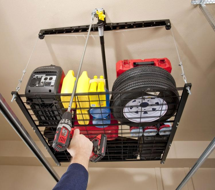 Overhead Lights In Garage: Pulley System Storage Rack For Your Garage