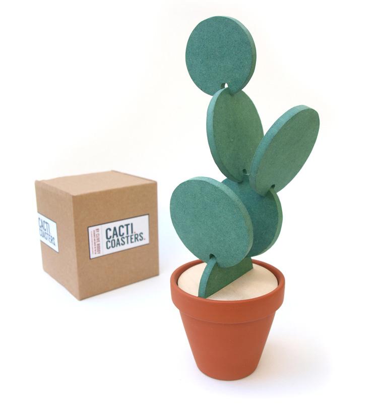 Cacti Coasters: A Coaster Set That Makes A Cactus When Not