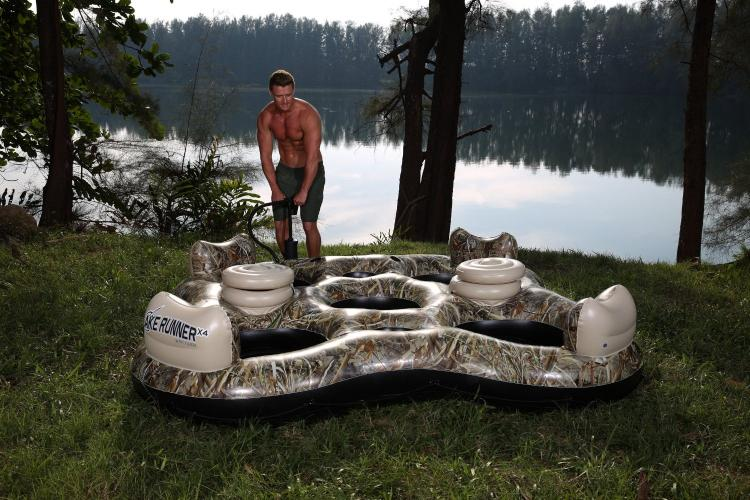 Camouflage Inflatable 4-person lake float - Camouflage river float