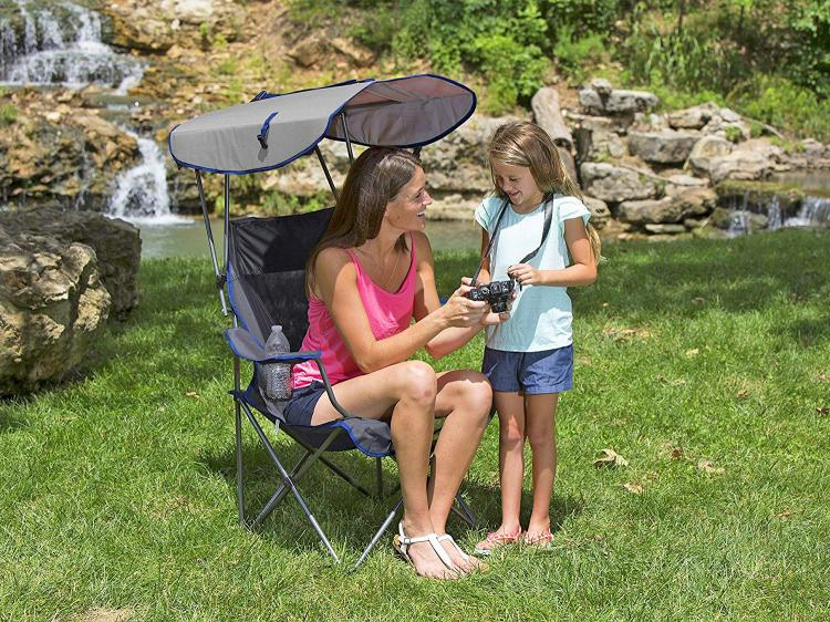 Canopy Chair Lawn Chair With A Sun Guard - Kelsyus pull-up canopy chair