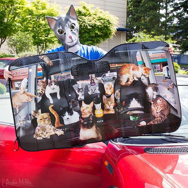 Best Windshield Sun Shade >> Car Full Of Cats Car Windshield Sunshade