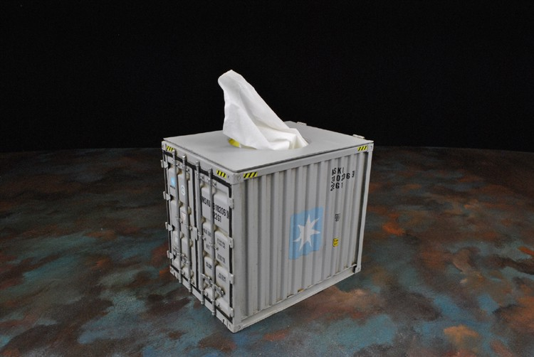 Shipping Container Tissue Box Holder - Mini Cargo Container Kleenex Box Holder