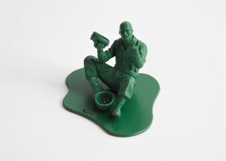 Realistic Little Green Army Men - Homeless Begger