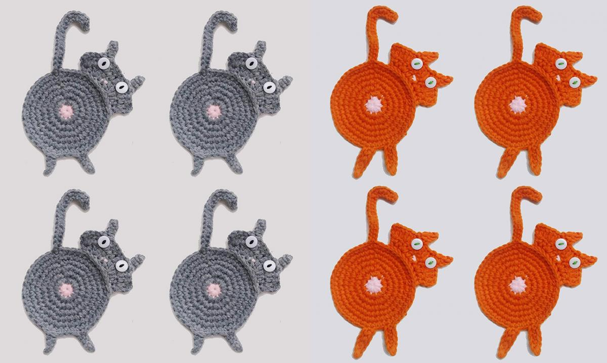 Cat Butt Crochet Knit Coasters - Cat Butt Coasters
