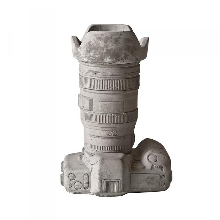 Cement DSLR Camera Shaped Vase or Desk Organizer - Seletti Cement Camera