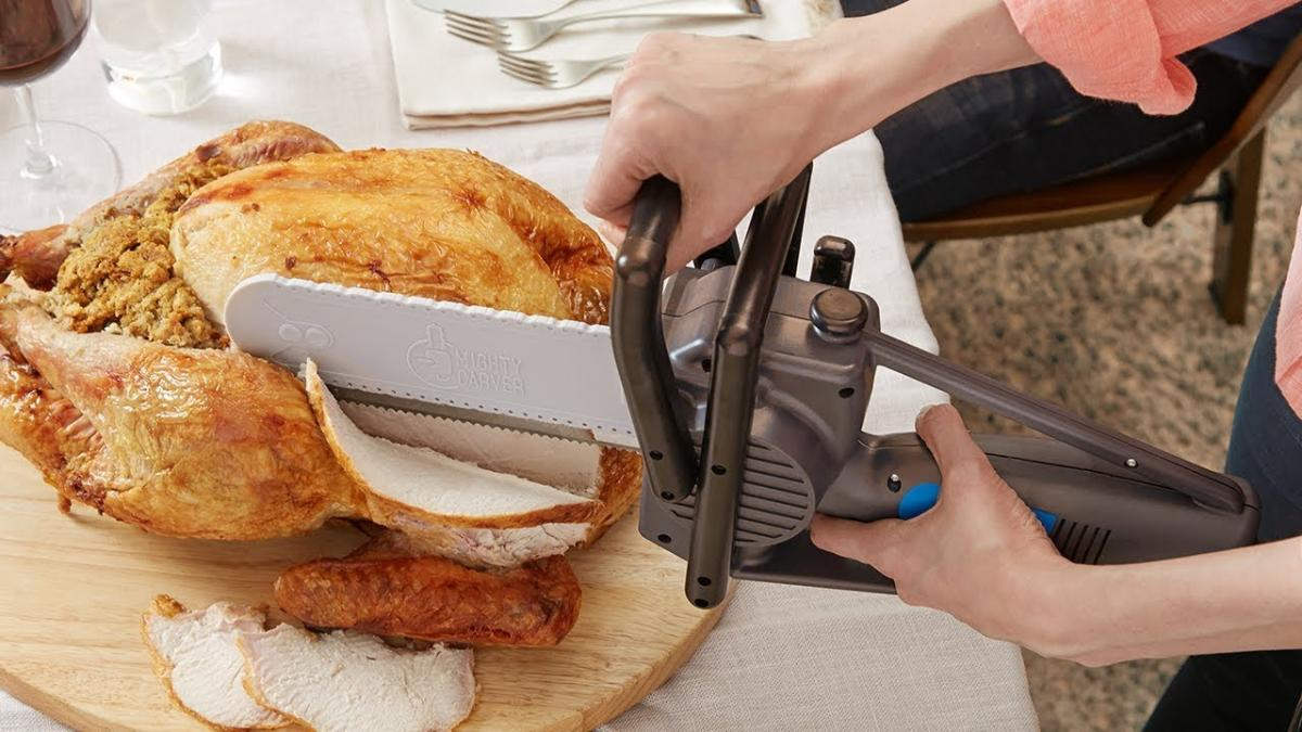Chainsaw Turkey Carving Knife - Mighty Carver Power Tool Chainsaw Turkey Cutter