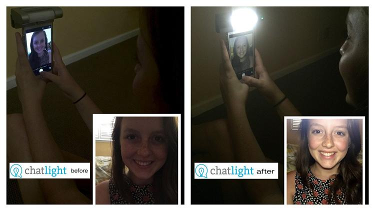 ChatLight Selfie Light - Light clip attaches to any smart phone, tablet, or computer for brighter video chatting