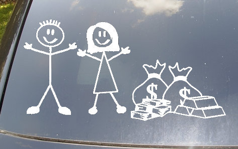 No Kids Stick Figure Family With Bags of Cash